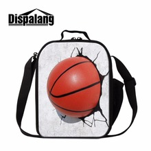 Dispalang Small Insulated Lunch Bag Patterns Ball 3D Print Cooler Bag Mini Lunch Box Basketballi Lunch Container for Boys School