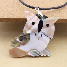 1pc Crazy Owl Natural Freshwater Colored Abalone Shell Pendants Necklace Drops Pendants DIY Fashion Jewelry Charms F1154
