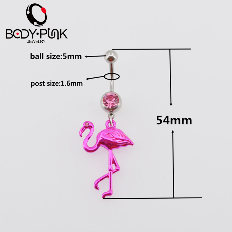 BODY PUNK Pink Flamingo Navel Ring 316L Surgical Steel Piercing Belly Button Rings Beautiful Navel Piercing Sex Body Jewelry (5)