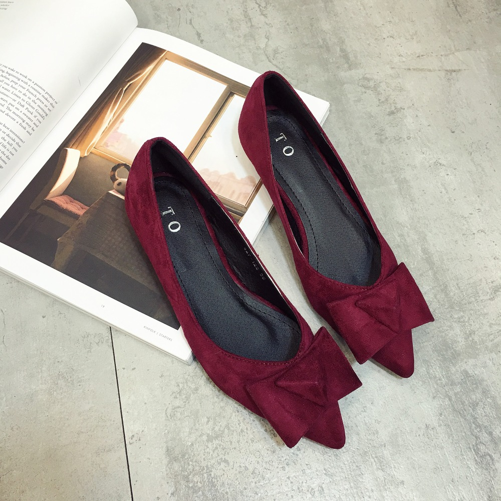 Women flats on the new European and American wind V suede bow joker pointed mouth big yards womens shoes, free shipping<br><br>Aliexpress