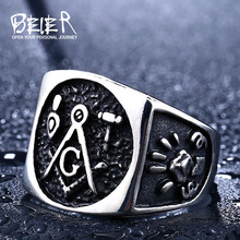 Beier new store 316L Stainless Steel ring   Unique Man's Free Mason Ring Jewelry Wholesale Factory Price LLBR8-223R