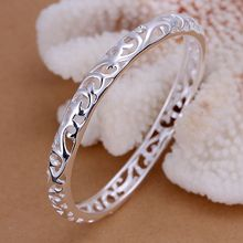 Silver Bangles For Women 925 Fashion Silver Jewellery Bracelets Bangles Closed Hollow Flower Bangle /XZXPLEAXB156 IFXZDMYV