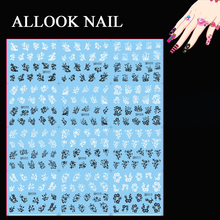 Nail Art(Large Piece H301-312 12 DESIGNS IN 1) Mix Black White Plum Flower Nail Art Water Sticker Decal for Nail Art Tip(China)