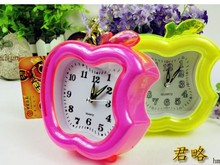 Free shipping, shaping of apple candy lovely color alarm fashion cute alarm clock quartz clock movement lowest price!