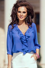 New 2016 women clubwear Tops new 2016 Sexy Royal Blue Ruffle Trim Sleeved Shirt LC25511 women tops