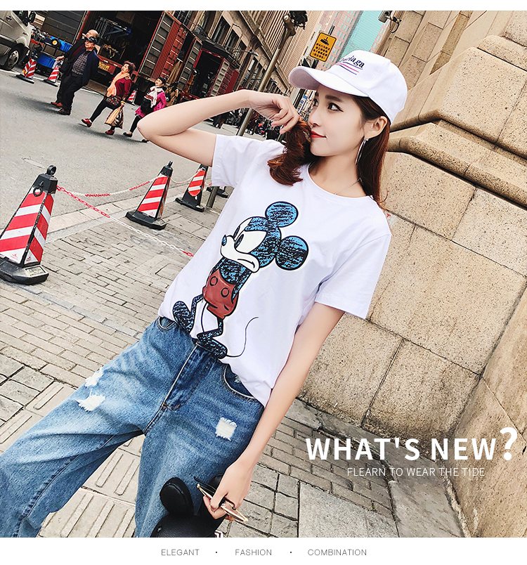 2019 Summer New Women's T-shirt Fashion Casual Mickey Mouse Printing Round Neck Short Sleeve Loose Female Tshirts 12 Online shopping Bangladesh