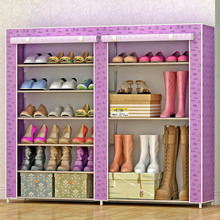 Multi-layer fashion folding non-woven stainless steel tube easy installation and storage multi-function storage six shoe cabinet(China)