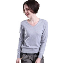 Women Autumn Winter Cashmere Blend Sweater V-Neck Pullovers Long Sleeve Jumpers Womens Knitted Sweaters 16 Colors S-XXL
