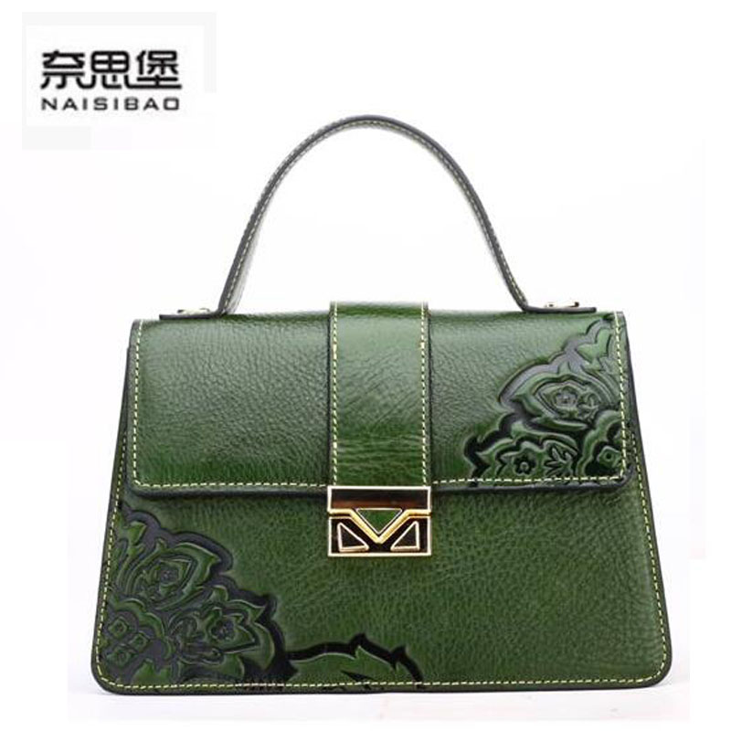 2016 New women bag genuine leather brands cowhide fashion retro chinese style embossing women leather  handbags shoulder bag<br><br>Aliexpress