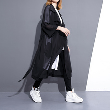 Female summer 2017 loose plus size turn-down collar solid color medium-long chiffon shirt mm cardigan top