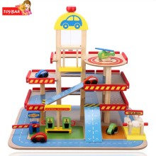 Boy Girl Three-Level Wooden Parking Garage Toy Set Children Transportation Systems Modelf or above 3 Yesrs Old Kids High Quality