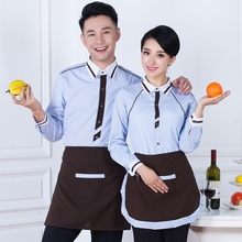 Long Sleeved Restaurant Clothing Attendant Coffee Cafe Uniform Hotel Autumn Female Winter waitress overall work clothes J031(China)