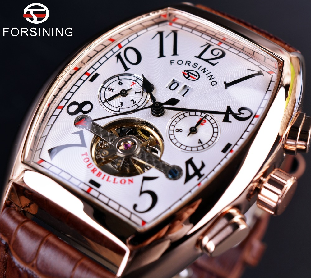 Forsining Square Mechanical Design Rose Gold Case White Dial Brown Leather Strap Mens Watches Top Brand Luxury Automatic Watch<br>
