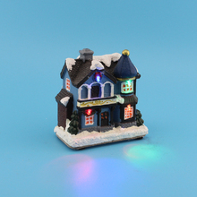 "4"" LED Polyresin Xmas Church Houses with LED Light Merry Christmas Decorations for Home Holiday Gifts(China)"