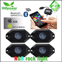 Color Changing 4 PODS 8 PODS Waterproof Bluetooth remote control RGB 9W Led Rock Light with Timing & Music Mode