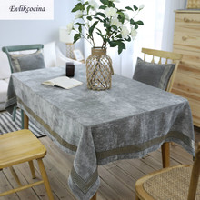 Free Shipping Flannel Embroidery Gray Thicker Tablecloth Cover Polyester Toalha De Mesa Nappe Rectangulaire Manteles Para Mesa(China)