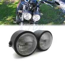 New Black Twin Headlight Motorcycle Double Dual Lamp Street Fighter Naked Dominator
