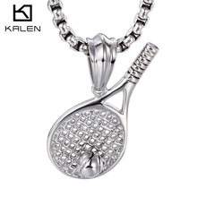 Kalen New Stainless Steel Tennis Racket Shaped Pendant High Polished Trendy Long Chain Necklaces For Men Wholesale Jewelry Gifts