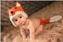 Fox Design Newborn Costume Photography Props Hand Made Crochet Baby Photo Shoot Clothes for 0-6 Months 1 Set