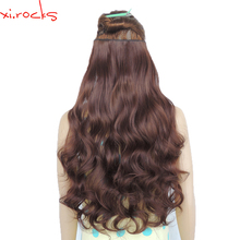 2 Piece Xi.Rocks 5 Clip in Hair Extension 70cm Synthetic Hair Clips Extensions 120g Curly Hairpin Hairpiece Puce Red Color 33J
