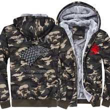 2017 thick hoodies harajuku long sleeve jacket brand homme winter is coming jacket men pp game of thrones Army Ggreen Camouflage