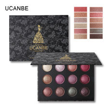 UCANBE 12 Color Baked Eye Shadow Powder Makeup Shimmer Metallic Glitter Eyeshadow Palette Nude High Pigment Smoky Eyes Cosmetics