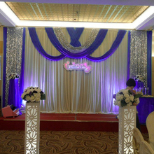 2016 new wedding backdrop curtain with swag wedding drapes event party hotel stage background curtain decoration sequin 3m x 6m