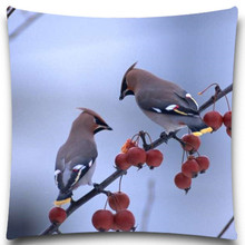 Two birds talking on the branch Cotton Polyester square 5 size 9 style Pillows Case for Sofa Car Cushion Cover Creative Decorati