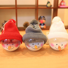 High Quality 3Pcs/Set Snowman Transparent Christmas Ball Christmas Decorations 14cm  Window Hotel Mall Christmas Tree