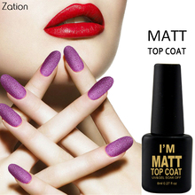 Zation Nail Art Matte Top Coat Design High UV LED 8ml Base Coat No Sticky Layer Top Coat Soak off Matt Top coat Lucky Gel