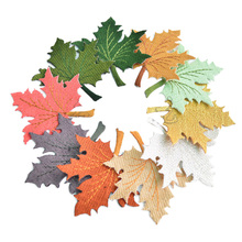 Hoomall 2PCs Leaves Iron On Patches For Clothing DIY Embroidered Appliques Clothes Ornaments Swe On Patches Stickers 7.5x7cm(China)