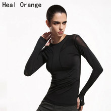 Heal Orange Women Mesh Hollow Yoga Top Full Sleeve Sport T Shirt Quick Dry Fitness Clothing Sports Gym Running Jogging Shirts(China)