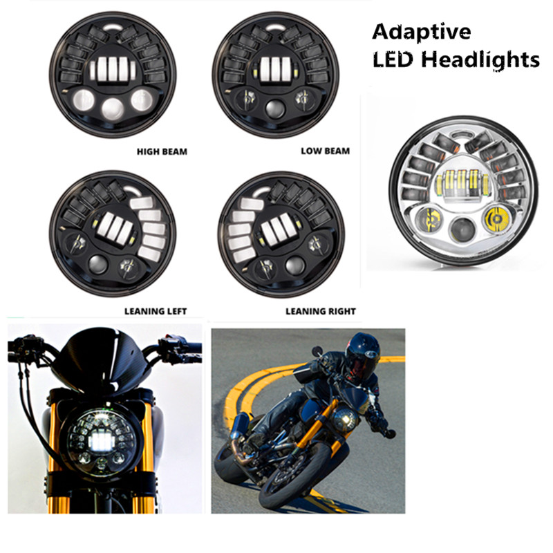 7 Adaptive Motorcycle LED Headlights Round Projector Headlamp DRL Parking lamp Turn Signal Light For Harley Moto Accessories<br><br>Aliexpress