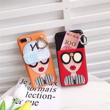 Wallet Case for iPhone7 7S plus Pu leather Ring Grip Cases Cover For iphone 6 6S Plus Red lips Modern Girl Handbag Coque Fundas