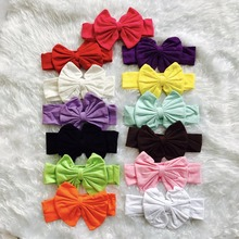 wholesale bulk all-match baby girls accessories bow headband wear coton solid muilt-color 13 pieces a lot one of each color