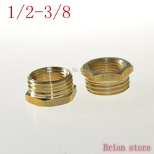 "2 Pieces 1/2"" Male -3/8"" Female Inch BSP Bushing Length 15mm Brass Pipe Fitting Coupler Connector Adapter 232psi +BMFBS"