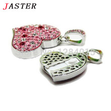 JASTER Diamond love heart USB Flash Drive Crystal fashion Lovers gift pendrive 4GB/8GB/16GB memory stick waterproof necklace