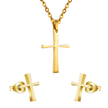 2016 Fashion New Product Cross Shape Pendant And Earrings Fine Jewelry Sets,316 Stainless Steel Set,Free Chain