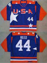 Men's high quality USA Mighty Ducks Movie Jersey #44  Fulton Reed ICE Hockey Jersey blue and green color