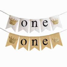 Glitter Crown I Am One Banner Garland Rustic1st Birthday Boy Party Nursing Room Decoration Baby Shower Photo Booth Props(China)