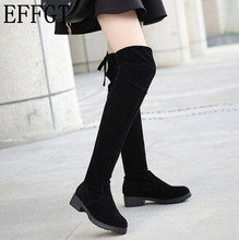 EFFGT New Arrivals Women Shoes Over Knee Thigh High Boots Female Motorcycle Flats Long Boots Low Heel Suede Leather Shoes Y98