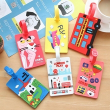 Carton Luggage Tag Car Stitch Travel Accessories Silica Gel Suitcase ID Address Holder Baggage Boarding Tags Portable Label(China)