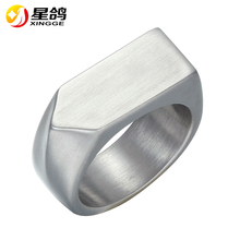 Classics Stainless Steel Jewelry Glaze Clear Ring Punk Finger Seal Ring Gold Silver Black Color Geometric Shape Ring For men