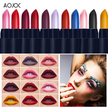 AOJOC Brand Makeup Matte Lipstick Long Lasting Glitter Lip Gloss Waterproof Black Lipstick Korean Cosmetics Beauty Baby Lips(China)