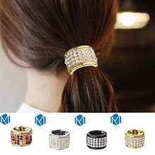 M MISM Punk Ponytail Holder Open Hairband Women Hair Accessories Headband Scrunchy Plastic Crystal Gum for Hair Ring Hair Band