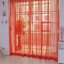 Lightweight Gauzy Valances Door Window Curtain Solid Color Drape Sheer Home Wedding Decoration