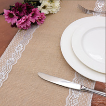 Vintage Burlap Jute Linen Table Runner Lace Cloth Dinning Room for Retro Style Wedding party Accessories Home Textile 30x275cm(China)
