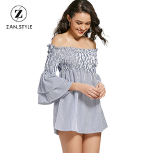 ZAN.STYLE Autumn Women Off Shoulder Striped Dress Slash Neck Ruffles Flare Sleeve Smocked Tiered Mini Dress Fit High Waist Dress(China)