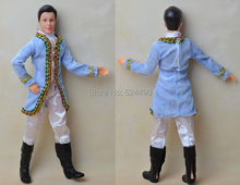 Ken Doll + Clothing Set + Shoes / with 12 joint Flexible / with Blue Formal Dress White Pant / for Barbie Boy Bridegroom Doll