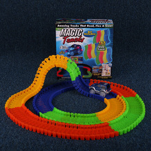 165/220/360pcs Race Track and a led car toys for children Magic Tracks Bend Flex Glow in the Dark Assembly educational Toy gifts